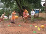 Girl Determined Kicks Off Goal in Myanmar