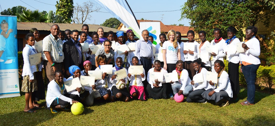 The new BRAC Goal Coaches, posing with their certificates at the closing ceremony at the BRAC Learning Center in Kampala.